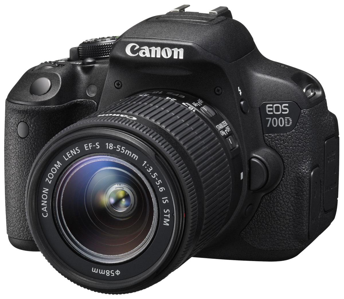Canon EOS 700D Kit EF-S 18-55 IS STM цифровая зеркальная фотокамера8596B005Цифровая зеркальная камера Canon EOS 700D идеальна для первого опыта в мире изображений EOS. Сделайте шаг в мир цифровой зеркальной фотографии и раскройте свой творческий потенциал. 18-мегапиксельный датчик позволяет создавать превосходные фотографии и видео, а удобный сенсорный ЖК-экран с переменным углом наклона Clear View II превращает съемку в удовольствие.Превосходное качество изображения:Запечатлейте каждую деталь благодаря 18-мегапиксельной матрице с гибридным CMOS-автофокусом. EOS 700D позволяет создавать изображения с низким уровнем шумов, которые можно распечатывать в большом разрешении, либо кадрировать и менять композицию.Видео в формате Full HD:Снимайте видео с разрешением 1080p и с выбором оптимального уровня автоматического или ручного контроля. Технология гибридной автофокусировки обеспечивает автоматическую непрерывную фокусировку при съемке видео. EOS 700D поддерживает почти бесшумную следящую автофокусировку для видео, используя совместимые объективы с технологией STM. Запись стереозвука осуществляется с помощью встроенного или внешнего микрофона.Отслеживайте динамику движений:Отслеживайте движущиеся объекты с помощью системы автофокусировки с 9 точками крестового типа, даже если они перемещаются в пределах сцены. Серийная съемка со скоростью 5 кадров/с очередями до 22 снимков означает, что Вы никогда не пропустите решающий момент.Откройте новые углы обзора:Компонуйте фотографии и видео под новыми и интересными углами с помощью 77-мм (3,0) сенсорного ЖК-экрана с переменным углом наклона Clear View II с соотношением сторон 3:2. Снимайте над головой или выберите впечатляющий ракурс на уровне поверхности земли.Сенсорное управление:Камеру EOS 700D удобно использовать с самого начала. Наводка на резкость и съемка одним касанием сенсорного экрана камеры, а также просмотр изображений при помощи движения пальцами и перетаскивания.Интеллектуальный сценарный режим:Легкое создание пре