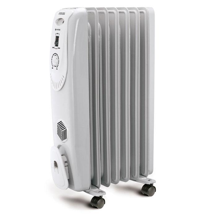 Vitek VT-1704(W) радиаторVT-1704(W)Радиатор Vitek VT-1704(W) имеет 7 секций, что позволяет качественно обогревать довольно крупные помещения. При этом данная модель снабжена специальным регулятором мощности, что позволяет включать его в том режиме, который лучше всего подходит к конкретной ситуации. Например, радиатор Vitek VT-1704(W) может быть запущен в режимах 600, 900 или 1500 ватт. Механическое управление сделает работу с ним более простой и комфортной.