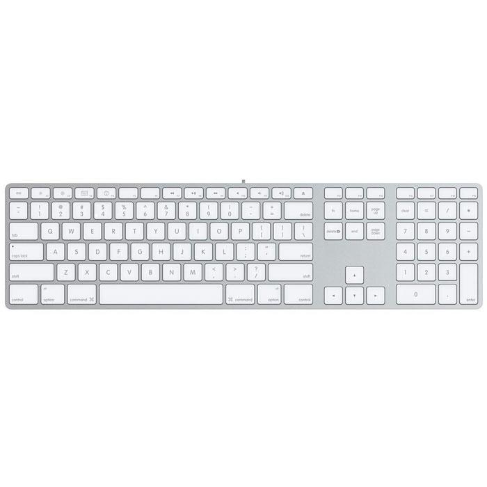 Apple MB110 цифровая клавиатура (MB110RU/B)MB110RU/BПроводная клавиатура Apple MB110 имеет тонкий алюминиевый корпус и низкопрофильные клавиши. Клавиши разнесены друг от друга на оптимальное расстояние и имеют достаточно глубокий ход. Поэтому клавиатура идеально подходит для больших объёмов работы с текстом. Содержит клавиши для быстрого управления функциями компьютера, такими как яркость, громкость, Mission Control и Launchpad. Цифровая панель идеально подходит для заполнения электронных таблиц и финансовых приложений. Два порта USB 2.0 позволяют подключить мышь и высокоскоростные периферийные устройства, например цифровую видеокамеру или принтер. Системные требования: компьютер Mac со свободным портом USB 2.0 или USB 1.1. Совместимость с Windows: официально поддержка систем семейства Windows не заявлена, следовательно, корректная работа под ОС Windows не гарантируется.