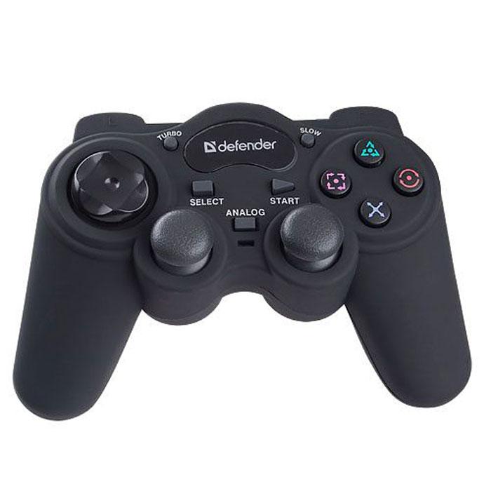 Defender Game Racer Turbo RS3 геймпад64251Геймпад Defender Game Racer RS3 отлично лежит в руке и потрясающе приятен на ощупь. Модель имеет мягкое прорезиненное покрытие. Два аналоговых джойстика позволяют играть в дополнительные игры, например, в футбольные симуляторы. Геймпад подходит как для ПК, так и для Sony PlayStation 2 и 3.Эффект вибрации делает аварии и столкновения более реалистичными (игра должна поддерживать функцию вибрации игрового контроллера). Режим Turbo позволяет максимально эффективно использовать оружие в шутерах. Сверхстойкое прорезиненное покрытие Soft Touch - специальное нескользящее покрытие приятно на ощупь и предотвращает скольжение геймпада в руках.Интерфейс: USB 2.0/3.0/PS GameportТип датчика: резистивныйКоличество осей позиционирования: 4