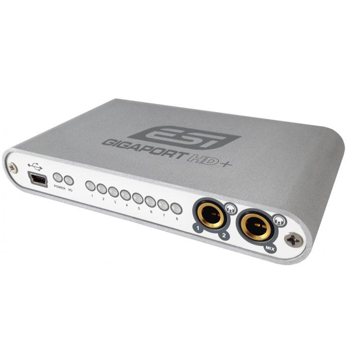 ESI GigaPort HD+ звуковая картаGigaPort HD+Компактный аудиоинтерфейс ESI GigaPort HD+ с разъемом USB. Устройство оснащено 8 независимыми выходами (с поддержкой формата 7.1) и 2 стереовыходами для наушников и обеспечивает качественное звучание (поддержка 24 бит 96 кГц).ESI GigaPort HD+ использует драйвера ASIO 2.0 для профессионального микширования и воспроизведения при работе в среде Windows XP/Vista/7 (32/64-bit). Устройство также совместимо с CoreAudio, что позволяет работать в операционной системе Mac OS X без установки специальных драйверов.ESI GigaPort HD+ прекрасно подходит для диджеев, работающих с цифровыми носителями на ноутбуках. Используйте Ваше любимое ПО и 8 выходов на устройстве в качестве 4 стереоканалов и микшируйте, добавляйте звуковые эффекты. С помощью двух выходов для наушников Вы можете предварительно прослушивать треки и следить за качеством звука.
