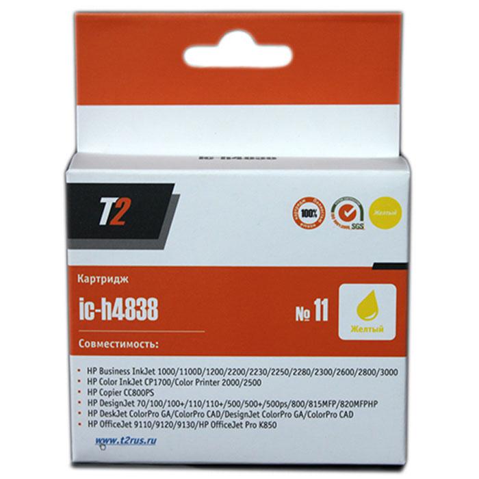 T2 IC-H4838 картридж для HP Business InkJet 1200/2200/2600/2800/CP1700/Pro K850 (№11), YellowIC-H4838Картридж T2 IC-H4838 с чернилами для струйных принтеров и МФУ HP. Картридж собран из японских комплектующих и протестирован по стандарту ISO.