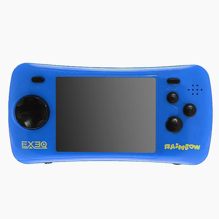 Портативная игровая консоль EXEQ Rainbow (синяя)VG-1638Игровая портативная приставка Exeq Rainbow со встроенным набором видеоигр не даст заскучать в дороге и дома, и доставит немало радости и удовольствия от прохождения самых интересных игр различных жанров, специально подобранных для всех категорий игроков. Аркадные стрелялки, казуальные головоломки, бродилки, гонки и спортивные симуляторы, логические игры - здесь есть все чтобы превратить Ваш досуг в увлекательное путешествие по миру виртуальной реальности! Приставка обладает большим экраном и возможностью подключения к телевизору.