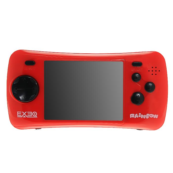Портативная игровая консоль EXEQ Rainbow (красная)VG-1638Игровая портативная приставка Exeq Rainbow со встроенным набором видеоигр не даст заскучать в дороге и дома, и доставит немало радости и удовольствия от прохождения самых интересных игр различных жанров, специально подобранных для всех категорий игроков. Аркадные стрелялки, казуальные головоломки, бродилки, гонки и спортивные симуляторы, логические игры - здесь есть все чтобы превратить Ваш досуг в увлекательное путешествие по миру виртуальной реальности! Приставка обладает большим экраном и возможностью подключения к телевизору.