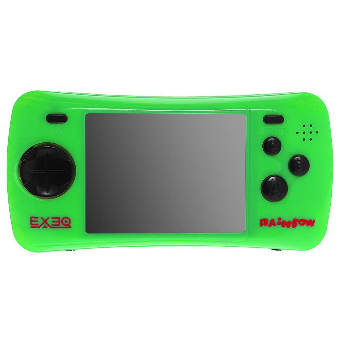 Портативная игровая консоль EXEQ Rainbow (зеленая)VG-1638Игровая портативная приставка Exeq Rainbow со встроенным набором видеоигр не даст заскучать в дороге и дома, и доставит немало радости и удовольствия от прохождения самых интересных игр различных жанров, специально подобранных для всех категорий игроков. Аркадные стрелялки, казуальные головоломки, бродилки, гонки и спортивные симуляторы, логические игры - здесь есть все чтобы превратить Ваш досуг в увлекательное путешествие по миру виртуальной реальности! Приставка обладает большим экраном и возможностью подключения к телевизору.