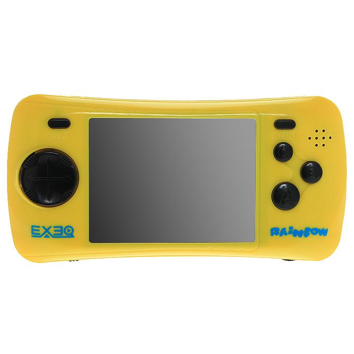 Портативная игровая консоль EXEQ Rainbow (желтая)VG-1638Игровая портативная приставка Exeq Rainbow со встроенным набором видеоигр не даст заскучать в дороге и дома, и доставит немало радости и удовольствия от прохождения самых интересных игр различных жанров, специально подобранных для всех категорий игроков. Аркадные стрелялки, казуальные головоломки, бродилки, гонки и спортивные симуляторы, логические игры - здесь есть все чтобы превратить Ваш досуг в увлекательное путешествие по миру виртуальной реальности! Приставка обладает большим экраном и возможностью подключения к телевизору.