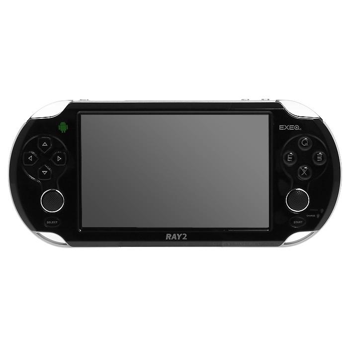 Портативная игровая консоль EXEQ Ray 2 (черная)MP-1025 BLПортативная игровая консоль EXEQ Ray 2 работает на базе OS Android 4.1 и оснащена двухъядерным процессором с частотой 1.5 ГГц.Мощная начинка обеспечивает не только высокое быстродействие загружаемых приложений, но и гарантирует плавное воспроизведение видео в формате высокой четкости. Для любителей сенсорных игр устройство имеет 5-ти дюймовый емкостной экран с поддержкой до пяти одновременных касаний. Однако при желании все виртуальные кнопки экрана можно легко перевести на аналоговые кнопки благодаря функции Virtual key mapping. Кроме того, для наиболее эффективного управления в играх консоль оборудована двумя аналоговыми джойстиками.Приятным дополнением консоли также является приложение Game Center - все закачиваемые игры будут четко структурированы, а поиск любимой игры не займет много времени. EXEQ Ray 2 также обладает яркими коммуникационными возможностями - выход в интернет можно осуществить при помощи модуля Wi-Fi, при помощи кабеля OTG к консоли можно подключить клавиатуру, мышь или даже модуль 3G для более скоростного интернета. Выход HDMI позволит вывести приложения с приставки на самые большие экраны телевизоров.