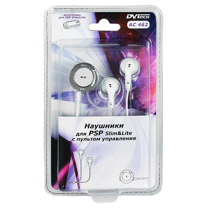 Наушники для PSP Slim DVTech AC 462 с пультом управления (цвет: белый)