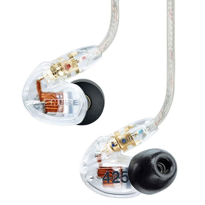 Shure SE425-CL-E наушники15113906Shure SE425 - концертные звукоизолирующие наушники, обладают сбалансированными однокомпонентными микродинамиками, съемным кабелем с позолоченными разъемами и точным звуковоспроизведением. Эргономичный профессиональный дизайн с легкими низкопрофильными корпусами, позволяет наушникам удобно располагаться в ушных раковинах. Прочный, усиленный кевларом кабель, позволяет легко придавать ему необходимую форму.