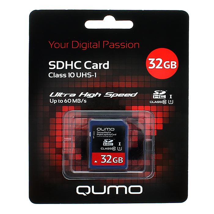 QUMO SDHC Class 10 32GB UHS-IQM32GSDHC10U1Скоростная карта памяти Qumo SDHC Class 10 UHS-I позволяет осуществлять расширение памяти цифровых плееров, цифровых фотоаппаратов и видеокамер, коммуникаторов, смартфонов, интернет планшетов и других совместимых устройств. Class 10 в сочетании сUHS-I (Ultra High Speed) обеспечивают сверхвысокую скорость чтения/записи. Кроме того, карты памяти Qumo являются качественным решением для хранения и переноса различного рода информации, такой как, музыкальный файлы, фотографии, электронные документы и другие важные для Вас файлы.Внимание: перед оформлением заказа, убедитесь в поддержке Вашим электронным устройством карт памяти данного объема.