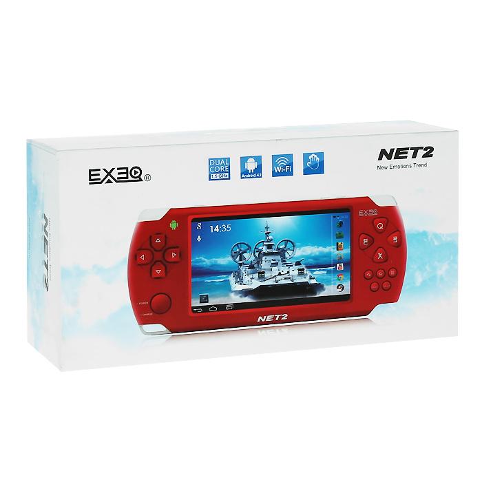 Портативная игровая консоль EXEQ NET 2 (красная)MP-1026 RDExeq Net 2 - компактная игровая консоль с мощной начинкой и широкими мультимедийными возможностями. Консоль работает на базе двухъядерного процессора Amlogic MX-L Dual core и оснащена сенсорным экраном в 4,3 дюйма с поддержкой мультитач до 5 касаний. Управляется Exeq Net 2 посредством Android 4.1, для выхода в интернет имеет модуль WiFi стандарта 802.11 b/g/n. Игровая консоль поддерживает игры для Android, приложения от PS1, Nintendo, GBA и Sega MegaDrive, воспроизводит всевозможные форматы видео и аудио. Загружайте самые захватывающие игры, смотрите любимые фильмы, бороздите просторы интернета - с Exeq Net 2 ничто не будет отвлекать Вас от приятного времяпрепровождения! Улучшенное быстродействие: Exeq Net 2 работает под управлением OS Android 4.1 и оснащена двухъядерным процессором Amlogic MX-S Dual core Cortex A9 с тактовой частотой 1.5 ГГц. Мощный процессор вкупе с быстродействием OS позволяет компактной консоли гораздо быстрее загружать самые последние приложения, надежнее воспроизводить самые красочные видеоигры и просто летать во время серфинга в интернете. Консоль имеет 4 Гб встроенной памяти, но при желании память можно расширить за счет карт Micro SD, объемом до 32 Гб. Емкостный сенсорный экран: Exeq Net 2 оборудован емкостным дисплеем в 4,3 дюйма с разрешением 480 х 272 пикселей и с полноценной функцией Multitouch, поддерживающей до 5 одновременных касаний. На ярком дисплее вы сможете ощутить всю красочность ваших любимых 3D-игр и насладиться всеми возможностями сенсорных игр. Игровые возможности: Exeq Net 2 поддерживает самые популярные форматы игр: N64, PS1, Arcade CP1/CP2/Neo/Geo, GBA, MD, Android games, Touch games, Gravity games и прочее. Благодаря яркому сенсорному экрану с поддержкой мультитач до пяти одновременных касаний и мощному процессору прохождение уровней в самых популярных сенсорных играх превратится в настоящее виртуальное приключение. Мультимедиа и возможности подключения: Exeq Net