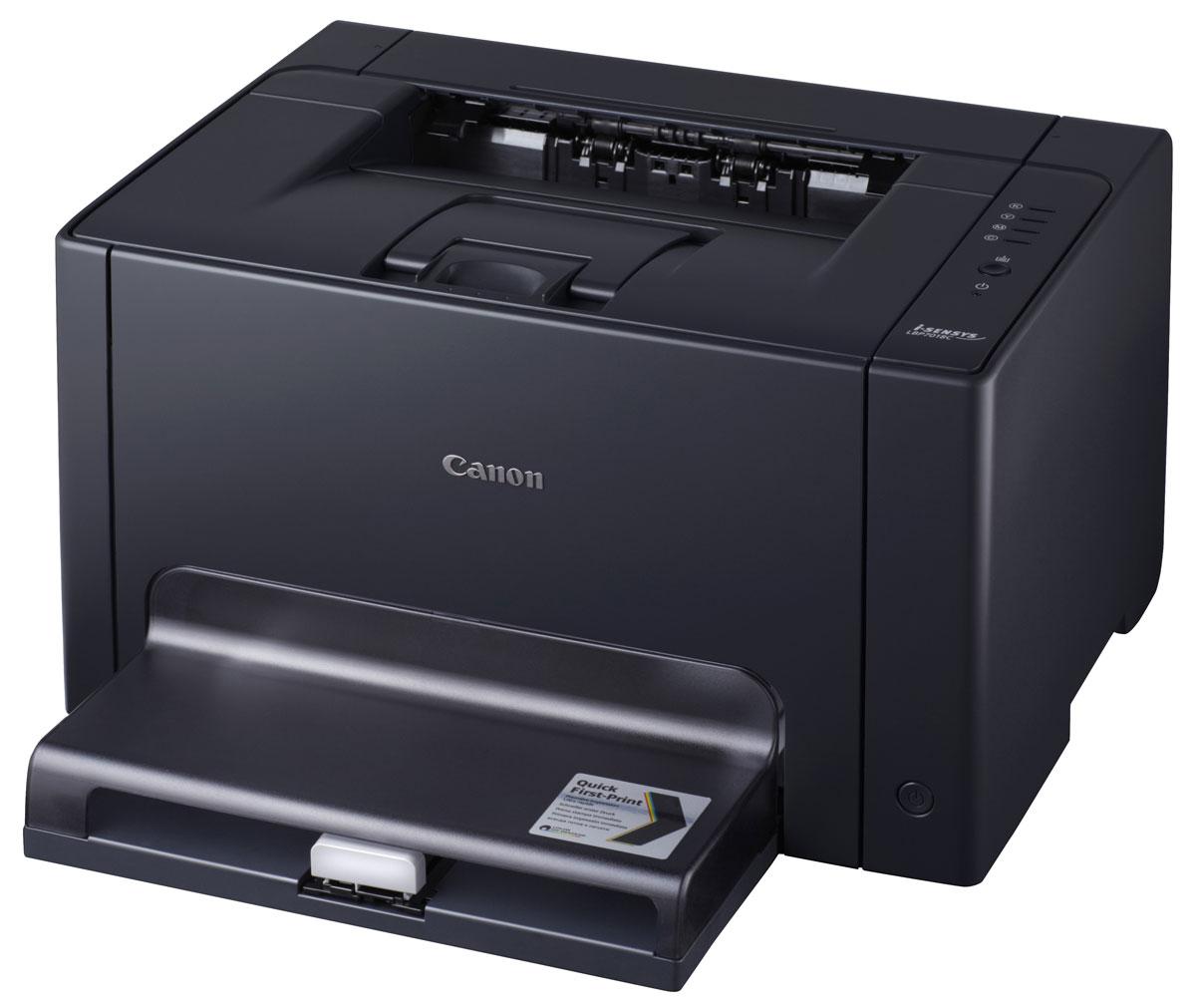 Canon i-Sensys LBP7018C лазерный принтер4896B004Миниатюрный цветной лазерный принтер Canon i-Sensys LBP7018C обеспечивает бескомпромиссное качество и непревзойденную экономию электроэнергии.Стильный, компактный дизайн:Компактная конструкция i-Sensys LBP7018C и низкий уровень шума при работе делают его идеальным настольным принтером для небольших или домашних офисов. Компактный и быстро реагирующий, этот доступный лазерный принтер обеспечивает исключительное качество цветной печати.Быстрая печать:Время ожидания результатов печати сводится к минимуму благодаря технологии Quick First-Print Canon. Скорость печати 16 стр./мин. в черно-белом и 4 стр./мин. в цветном режиме. Благодаря функции First Print Out Time в черно-белом режиме время выхода первого листа всего 13,6 с.Великолепный результат — в цветном и черно-белом режиме:Добейтесь успеха с отличным качеством отпечатков. Благодаря разрешению печати 2400 x 600 точек на дюйм Вы заметите улучшенную детализацию, резкость контуров, четкий текст и плавные градации оттенков серого. Превосходная обработка изображений Canon и инновационный S-тонер гарантируют превосходное качество цветных отпечатков.Сократите затраты благодаря низкому энергопотреблению:Отличная энергоэффективность i-Sensys LBP7018C позволяет экономить деньги и снизить стоимость владения, а также уменьшить выбросы парниковых газов. Благодаря стремлению Canon к защите окружающей среды и созданию самых экологически безвредных устройств, этот цветной лазерный принтер получил сертификацию Energy Star. Его рейтинг типичного энергопотребления (TEC) всего 0,5 кВт.ч, а в режиме сна — всего 1,1 Вт, что делает этот принтер самым энергоэффективным в своем классе.Простой в эксплуатации:Этот принтер исключительно легок в настройке и эксплуатации. Тонер-картриджи легко заменять, а специальные функции снижения шума делают его еще тише и приятнее в использовании, так, что Вы можете сконцентрироваться на своих делах. Вы можете быть спокойны на счет того, что удобный в пользован