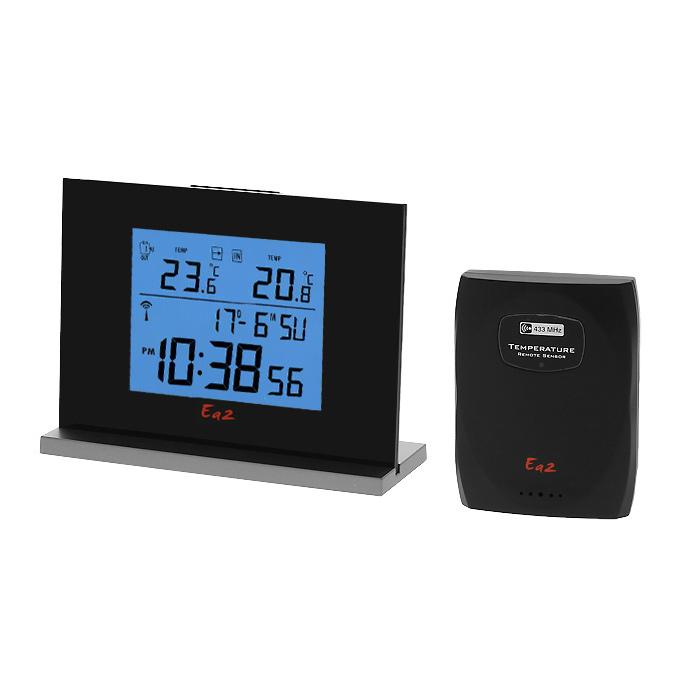 Ea2 EN201 Eternity термометрEN201Электронный термометр Ea2 EN201 производит измерение температуры внутри помещения и наружной температуры. Обладает памятью минимальных и максимальных значений температуры, имеет встроенные часы и будильник.Единица измерения: °C или °FТочность: 0.1 °CФормат времени 12 или 24Установка годаКалендарь отображает дату, месяц, число, день недели и до 2099 годаВыбор языка для дней неделиФункция двойного будильникаЧастота радиопередачи: 433 МГцРадиус передачи данных: 30 метровКрепление на стену или подставкаПитание: 3 х ААА (основной блок), 2 х ААА (датчик) (не входят в комплект)