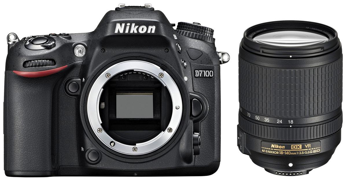 Nikon D7100 Kit 18-140 VR цифровая зеркальная камераVBA360K002Производительная 24,1-мегапиксельная фотокамера Nikon D7100 формата DX позволит любителям фотосъемки создавать незабываемые динамичные фотографии. Эта многофункциональная, чрезвычайно легкая и компактная модель, заключенная в прочный корпус, позволяет расширить возможности фотосъемки. Благодаря 51-точечной системе АФ фотокамеры Nikon D7100 Вы можете воплощать в жизнь свое творческое видение на профессиональном уровне и при этом получать превосходные фотографии с высоким уровнем детализации, а также четкие и резкие видеоролики в формате Full HD.Расширенные возможности для получения изображений превосходного качества:Фотокамера Nikon D7100 оснащена множеством различных функций, благодаря которым перед Вами открываются неограниченные возможности для съемки, а также достигается невиданное ранее качество изображений. Мощная КМОП-матрица формата DX с разрешением 24,1 мегапикселя гарантирует получение резких и детализированных изображений. За счет того, что не применяется оптический низкочастотный фильтр (OLPF), мегапиксели матрицы используются максимально, и это позволяет достичь необычайно высокого разрешения. Полученные изображения отличаются исключительной резкостью, что обеспечивает сверхвысокую передачу даже таких текстур с мельчайшими деталями, как волосы или перья. Кроме того, использование процессора EXPEED 3 для обработки изображений обеспечивает высокоскоростную работу фотокамеры, а также точное воспроизведение цвета и более эффективное понижение шума.Профессиональная 51-точечная система автофокусировки:Система АФ фотокамеры Nikon D7100 обеспечивает производительность, характерную для профессиональных фотокамер, за счет использования того же алгоритма, который применяется в фотокамерах D4. Использование 51 точки фокусировки с 15 датчиками перекрестного типа в центральной зоне позволяет достичь идеальной точности и «захвата» объекта. Более быстрое начальное определение АФ позволяет быстро сфокусировать