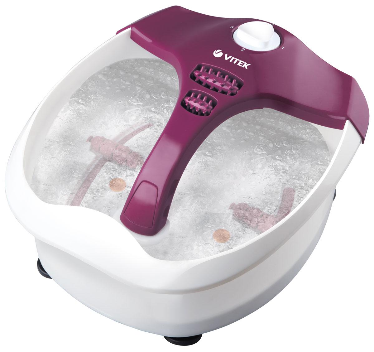 Vitek VT-1799(VT) массажерVT-1799(VT)Гидромассажная ванночка Vitek VT-1799(VT) приносит облегчение усталым ногам и улучшает кровообращение в сосудах ног. Воздушные пузырьки способствуют расслаблению мышц, а инфракрасный излучатель осуществляет целенаправленный нагрев определенных частей ступней ног. Массажные насадки, входящие в комплект поставки, применяются для проведения акупунктурного массажа.При использовании ванночки для ног Вы получаете следующие полезные воздействия: расслабление напряженных мышц, снятие усталости и восстановление хорошего самочувствия Ваших ног, стимулирование кровоснабжения, ускорение регенерации клеток. Обычно сеанс массажа не должен длиться более 15-20 минут. Массаж ног можно проводить один или два раза в день. Перед повторным использованием устройство должно остыть приблизительно 15 минут.