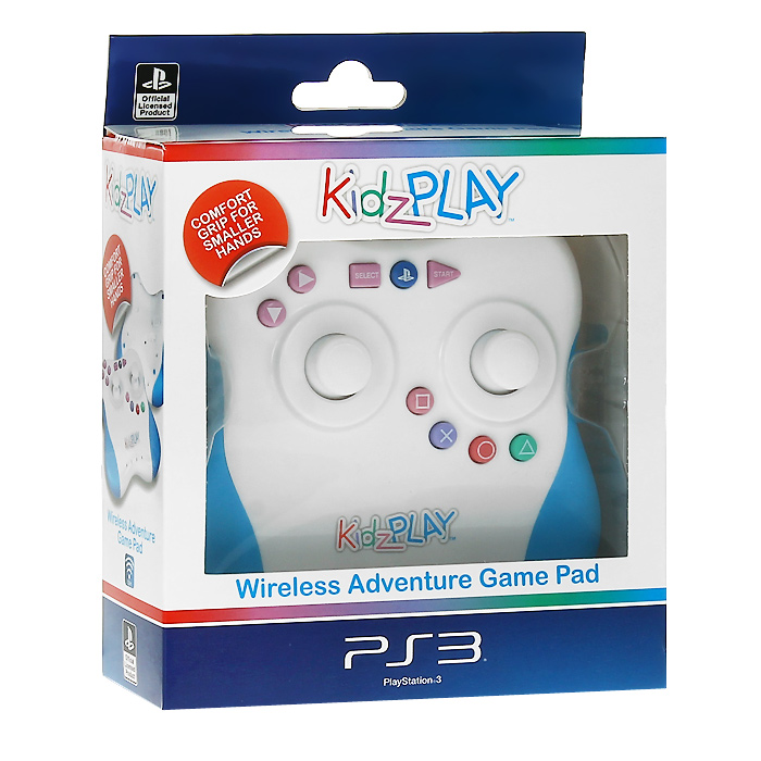 Детский беспроводной контроллер Kidz Play Adventure для PS3 (голубой)PSV-078EЯркий и красочный полнофункциональный контроллер Kidz Play Adventure разработан специально для игроков младшего возраста и допускает использование в качестве настольного джойстика. Функционально Kidz Play Adventure полностью соответствует оригинальному контроллеру для PS3 и имеет два аналоговых джойстика, кнопки направления, триггеры и остальные функциональные кнопки. Беспроводной детский игровой контроллер работает от трех батареек типа ААА и имеет индикацию разряда батареи. Корпус устройства пропитан антибактериальным составом, уничтожающим до 99,9% вредоносных микроорганизмов в течение 24 часов. Состав добавлен к пластику перед формовкой, он не смоется и не сотрется во время использования устройства и обеспечит непрерывную защиту в течение всего срока службы устройства, не нарушая эстетику внешнего вида и не оказывая негативного влияния на эксплуатационные качества.Переключатель On/OffОбрезиненные рукояткиРежим энергосбереженияУдобное расположение кнопок действий