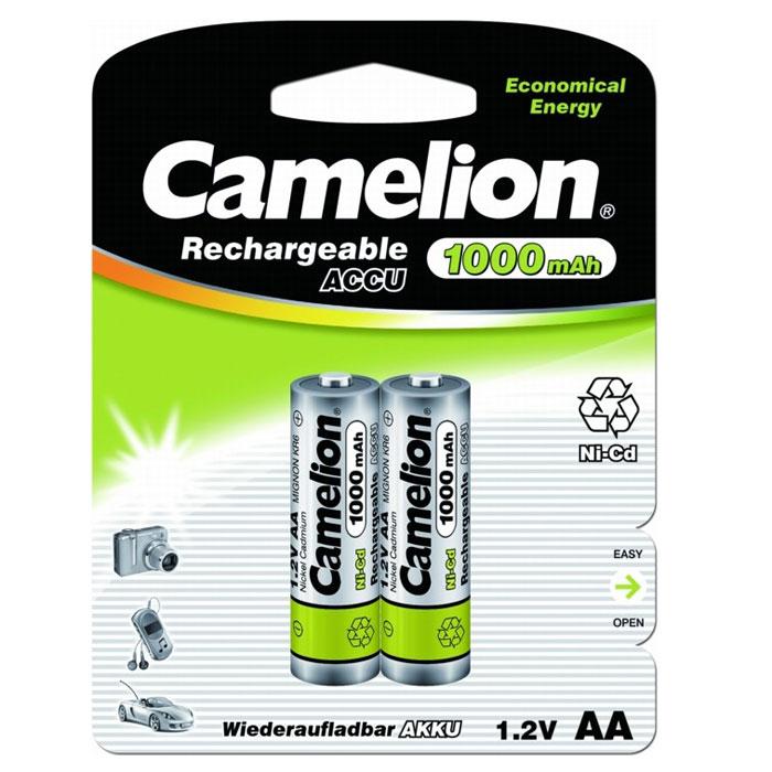 Camelion AA-1000mAh Ni-Cd BL-2 (NC-AA1000BP2) 2 аккумулятора, 1.2В