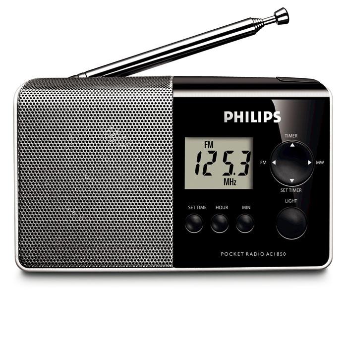 Philips AE1850AE1850/00Стильный, карманный радиоприемник Philips AE1850 с диапазонами AM/FM с легко читающимся цифровым дисплеем, подсветкой, часами и будильником.