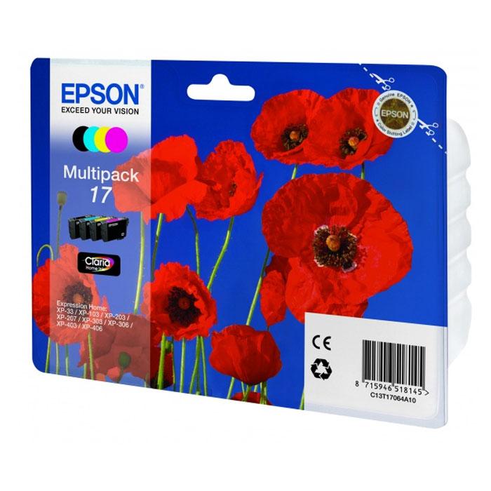 Epson 17 набор картриджей для XP-33/XP-103/XP-406 (4 цвета)C13T17064A10Epson 17 - экономичный набор из 4 картриджей 17 серии с пигментными черными и водорастворимыми цветными чернилами - сэкономьте 10%.