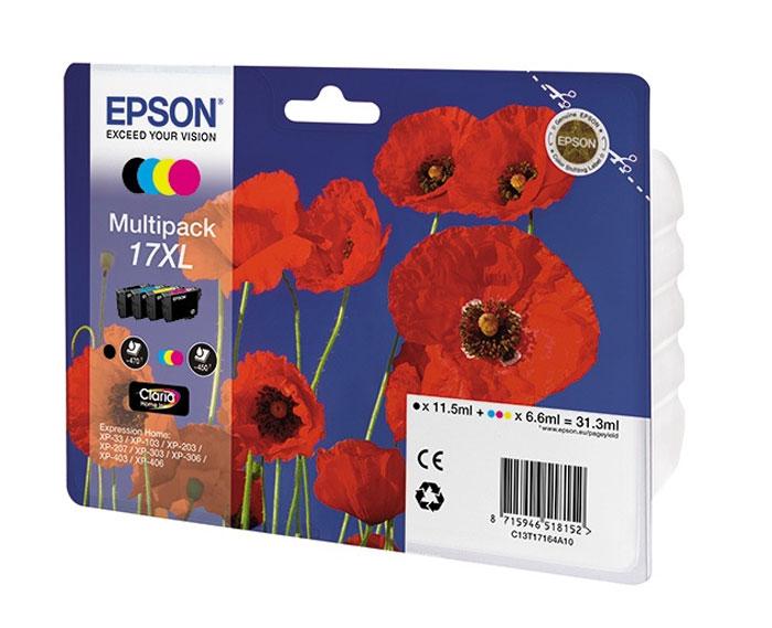Epson T1716 Multipack 17XL (C13T17164A10) комплект картриджей для XP33/203/303C13T17164A10Epson 17 - экономичный набор из 4 картриджей 17 серии с пигментными черными и водорастворимыми цветными чернилами - сэкономьте 10%.