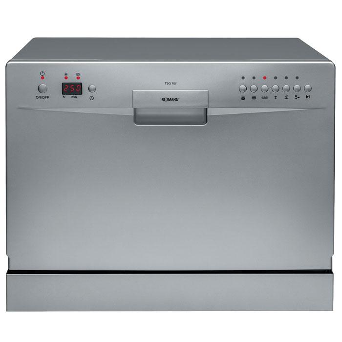 Bomann TSG 707, Silver посудомоечная машинаTSG 707 siber A+AAКомпактная посудомоечная машина Bomann TSG 707 рассчитана на мойку 6 комплектов посуды. Благодаря LED-дисплею можно наблюдать за ходом выполнения программы. Посудомоечная машина оборудована контрольными лампами Вкл./Выкл., Наличие соли/ополаскивателя, Выбранная программа. Имеются функции смягчения воды и дозировки ополаскивателя.