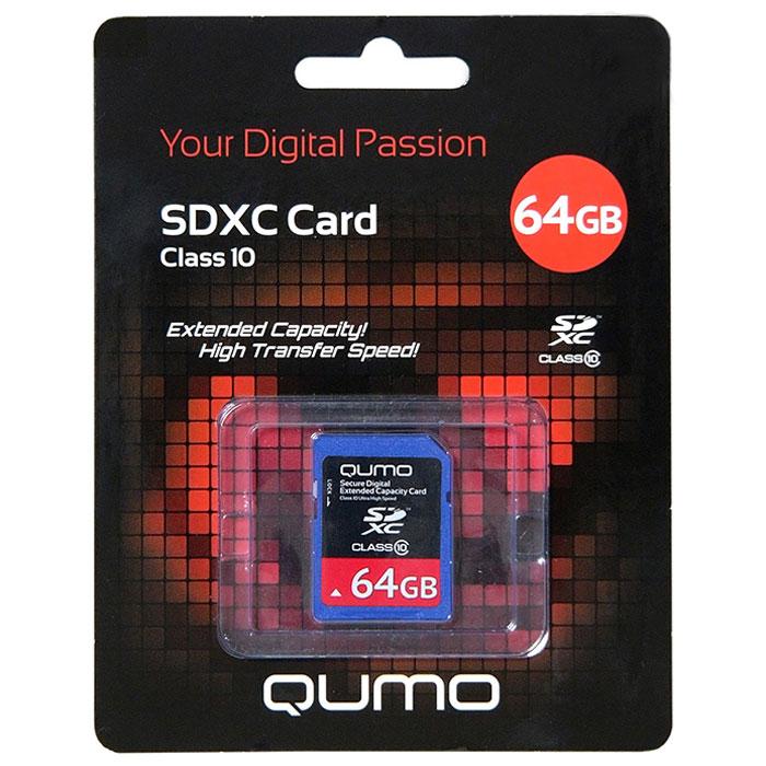 QUMO SDXC Class 10 64GB карта памятиQM64GSDXCcl10Карта памяти QUMO SDHC/SDXC Class 10 предназначена для расширения памяти мобильных телефонов, цифровых фото и видеокамер, ноутбуков, карманных компьютеров и других портативных устройств, поддерживающих данный формат карт, и является одной из самых популярных. Практически неограниченный срок хранения записанных на карту материалов и большой срок безукоризненной работы идеально подходят для записи любых видов данных.Внимание: перед оформлением заказа убедитесь в поддержке вашим электронным устройством карт памяти данного объема.