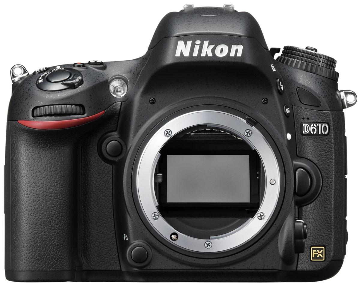 Nikon D610 Body цифровая зеркальная фотокамераVBA430AEОцените все преимущества фотосъемки в полнокадровом режиме с фотокамерой Nikon D610. Благодаря поддержке профессиональных технологий Nikon эта мощная цифровая зеркальная фотокамера обеспечивает качество изображения, возможное только при использовании формата FX.24,3-мегапиксельная матрица формата FX запечатлевает все детали с реалистичной резкостью, что позволяет снимать изумительные фотографии с насыщенными цветами и создавать плавные видеоролики в формате Full HD. Вы можете запечатлеть движение со скоростью до шести кадров в секунду, а новый режим серийной съемки Режим серийной съемки «Тихий затвор» идеально подходит для съемки диких животных благодаря существенному снижению шума от работы механизма возврата зеркала фотокамеры во время серийной съемки, что позволяет незаметно приблизиться к объекту съемки.Снимайте изображения с низким уровнем шума и широким диапазоном тонов в условиях большого контраста между яркими и темными участками. Значения чувствительности 100-6400 единиц ISO, которые можно увеличить до эквивалента 25 600 единиц, позволяют получить изображения с высокой детализацией и минимальным уровнем шума даже при съемке в условиях недостаточного освещения.Наслаждайтесь исключительным «захватом» объекта с помощью 39-точечной системы АФ с модулем датчика автофокусировки Multi-CAM4800. Фотокамера D610 совместима с объективами с комбинированной диафрагмой до f/8, что в сочетании с чувствительностью до -1 EV позволяет делать резкие снимки даже при свете полной луны. Система обработки изображений EXPEED 3 с 14-разрядным аналого-цифровым преобразованием и 16-разрядной обработкой изображений помогает получить великолепные цветовые оттенки.Матрица фотокамеры и ее 2016-пиксельный датчик RGB предоставляют точные данные системе распознавания сюжетов, которая оптимизирует экспозицию, автофокусировку и баланс белого непосредственно перед нажатием кнопки затвора для получения четких изображений. С помощью режимов P