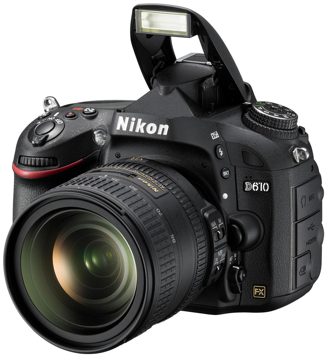 Nikon D610 Kit 24-85 цифровая зеркальная фотокамераVBA430K001Оцените все преимущества фотосъемки в полнокадровом режиме с фотокамерой Nikon D610. Благодаря поддержке профессиональных технологий Nikon эта мощная цифровая зеркальная фотокамера обеспечивает качество изображения, возможное только при использовании формата FX.24,3-мегапиксельная матрица формата FX запечатлевает все детали с реалистичной резкостью, что позволяет снимать изумительные фотографии с насыщенными цветами и создавать плавные видеоролики в формате Full HD. Вы можете запечатлеть движение со скоростью до шести кадров в секунду, а новый режим серийной съемки Режим серийной съемки «Тихий затвор» идеально подходит для съемки диких животных благодаря существенному снижению шума от работы механизма возврата зеркала фотокамеры во время серийной съемки, что позволяет незаметно приблизиться к объекту съемки.Снимайте изображения с низким уровнем шума и широким диапазоном тонов в условиях большого контраста между яркими и темными участками. Значения чувствительности 100-6400 единиц ISO, которые можно увеличить до эквивалента 25 600 единиц, позволяют получить изображения с высокой детализацией и минимальным уровнем шума даже при съемке в условиях недостаточного освещения.Наслаждайтесь исключительным «захватом» объекта с помощью 39-точечной системы АФ с модулем датчика автофокусировки Multi-CAM4800. Фотокамера D610 совместима с объективами с комбинированной диафрагмой до f/8, что в сочетании с чувствительностью до -1 EV позволяет делать резкие снимки даже при свете полной луны. Система обработки изображений EXPEED 3 с 14-разрядным аналого-цифровым преобразованием и 16-разрядной обработкой изображений помогает получить великолепные цветовые оттенки.Матрица фотокамеры и ее 2016-пиксельный датчик RGB предоставляют точные данные системе распознавания сюжетов, которая оптимизирует экспозицию, автофокусировку и баланс белого непосредственно перед нажатием кнопки затвора для получения четких изображений. С помощью ре