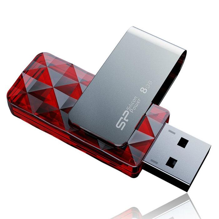 Silicon Power Ultima U30 8GB, Red USB-флэш накопительSP008GBUF2U30V1RКорпус накопителя Silicon Power Ultima U30 напоминает по форме грани кристалла, придающие блеск и сияние. Поверхность корпуса отражает солнечные лучи, что делает накопитель похожим на изысканное ювелирное украшение. Ultima U30 оснащен встроенным LED индикатором, отображающим статус передачи данных при использовании.Отличаясь от наиболее распространенных моделей USB накопителей, Ultima U30 оснащен вращающейся на 360 градусов металлической конструкцией. Дизайн накопителя без колпачка очень удобен в использовании. B30 также надежно защищен от повреждений благодаря особой технологии крепления USB коннектора