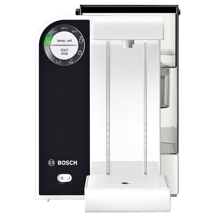 Bosch THD2021, White термопотTHD2021Термопот Bosch THD2021 Filtrino подогреет или вскипятит ровно столько воды, сколько нужно для приготовления одной чашки чая.Верно подобранная температура воды позволяет полностью раскрыться благородному аромату чая, а Вам насладиться целебными свойствами и удивительным вкусом любимого напитка. Поэтому Bosch THD2021 Filtrino располагает системой нагрева воды с 5 температурными режимами, подходящими для всех сортов чая, а также быстрорастворимых супов или даже горячего шоколада.Этот прибор позволяет наливать свежеотфильтрованную воду определенными порциями, а также нагревать ее до определенной температуры нажатием одной лишь кнопки. Оптимальный вкус напитка и защита прибора обеспечиваются фильтрацией воды фильтром BRITA. Содержание в воде солей, хлора, а также металлов, таких как медь и свинец благодаря этому фильтру значительно снижается, что позволяет Вам наслаждаться лишь тонким ароматом любимых напитков.Индивидуальная настройка объема (120 мл, 150 мл, 200 мл, 250 мл или 300 мл) и желаемой температуры напитков в Bosch THD2021 Filtrino производится нажатием одной кнопки. Настраиваемая по высоте съемная подставка для чашек с поддоном для капель позволяет использовать стаканы, кружки и чашки практически всех видов и размеров.