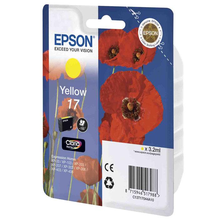 Epson 17 (C13T17044A10), Yellow картридж для XP-33/XP-103/XP-406C13T17044A10Картридж стандартной емкости Epson 17 с пигментными черными или водорастворимыми цветными чернилами для струйных МФУ Epson Expression Home. Расход измерен по стандарту ISO/IEC FCD 24711 и 24712.