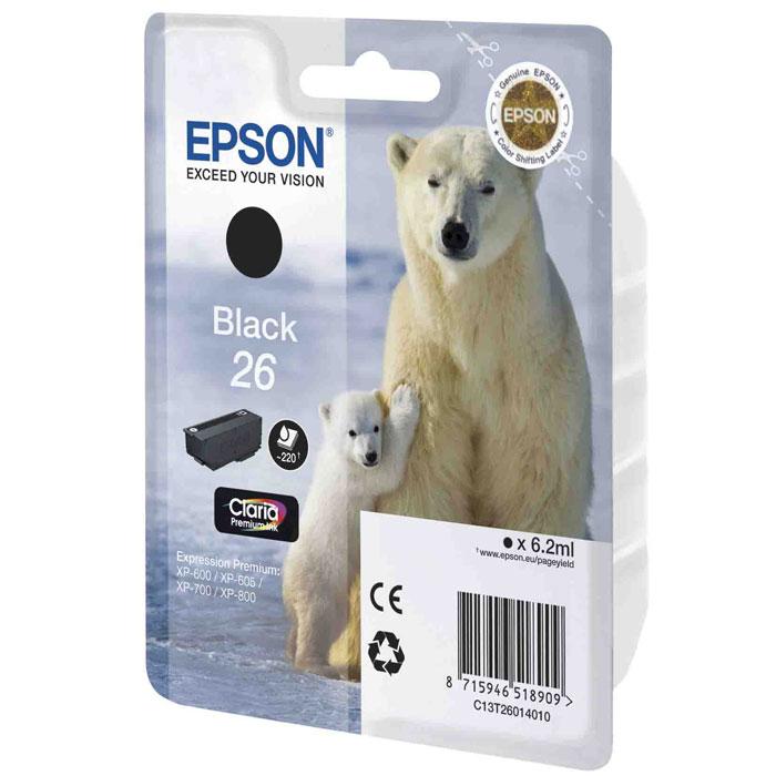 Epson 26 (C13T26014010), Black картридж для XP-600/XP-700/XP-800C13T26014010, С13Т26014012Картридж стандартной емкости Epson 26 с пигментными черными или водорастворимыми цветными чернилами для струйных МФУ Epson.