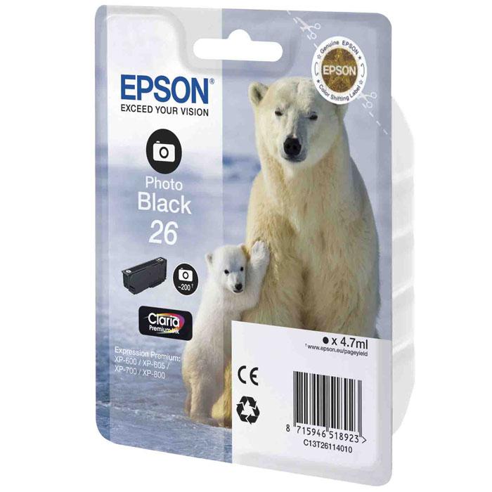 Epson 26 (C13T26114012), Photo Black картридж для XP-600/XP-700/XP-800C13T26114012Картридж стандартной емкости Epson 26 (C13T26114010) с водорастворимыми черными фото чернилами для печати фотографий для МФУ Epson.