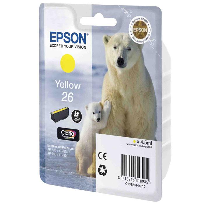 Epson 26 (C13T26144010), Yellow картридж для XP-600/XP-700/XP-800C13T26144010Картридж стандартной емкости Epson 26 с пигментными черными или водорастворимыми цветными чернилами для струйных МФУ Epson.