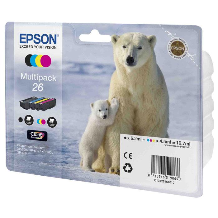 Epson 26 Multipack (C13T26164010) комплект картриджей для XP-600/XP-700/XP-800C13T26164010Экономичный набор из 4 картриджей Epson 26 с пигментными черными и водорастворимыми цветными чернилами.
