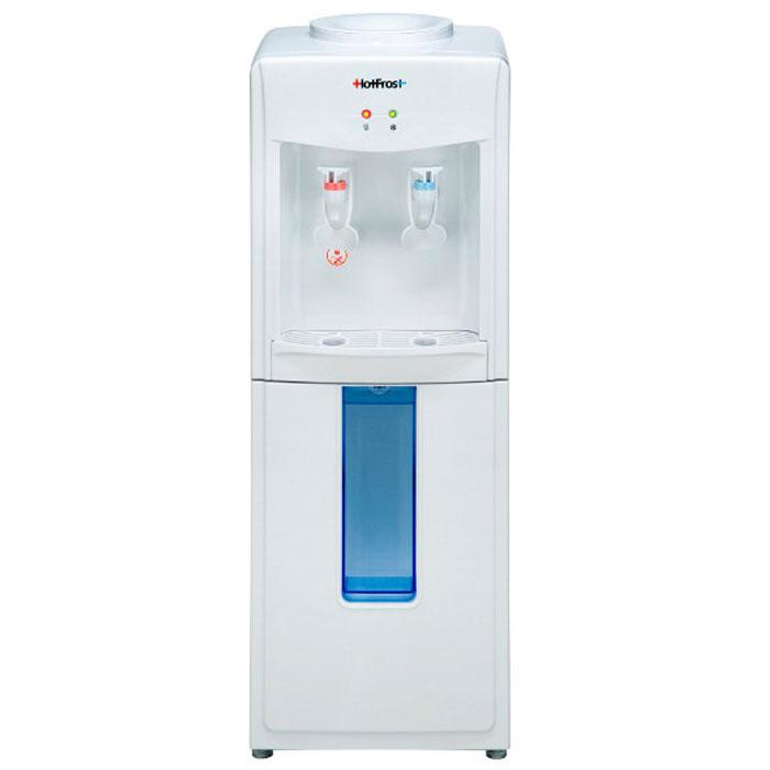 HotFrost V118 кулер для воды906Если Вы ищете недорогой, но при этом надёжный конструктивно и безопасный для здоровья аппарат для охлаждения и нагрева воды, обратите внимание на кулер HotFrost V 118.Используемое в диспенсере компрессорное охлаждение позволяет охлаждать воду до температуры +7°С даже при эксплуатации кулера в некондиционируемом помещении. Используемый в устройстве нажимной тип краников (нажим кружкой / одноразовым стаканчиком) позволяет пользователю интуитивно наполнить посуду водой, не вникая в конструктивные особенности диспенсера. Наличие нажимных краников, избавляющих пользователя от лишнего контакта с поверхностями кулера, вместе с откидным шкафчиком для удобного размещения одноразовых стаканчиков, позволяет использовать данную модель кулера в местах с повышенным количеством пользователей.