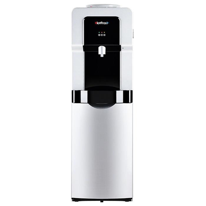 HotFrost V900 CS кулер для воды923Современный кулер HotFrost V900CS соответствует высоким стандартам качества и эстетики. Собранный на одном из заводов холодильного оборудования Китая, V900CS порадует Вас своим качеством сборки: люфты, щели, неровности покрытия остались в прошлом. На Вашей кухне или в офисе теперь будет стоять презентабельный, дорого выглядящий аппарат, который не расстроит Вас признаками кустарного производства даже при детальном рассмотрении. Трубки, баки, компрессор, всё то, что контактирует с водой, выполнено из высококлассных материалов и собрано с целью обеспечения уникального качества. Сам аппарат порадует Вас высоким ростом (что сделает взаимодействие с ним весьма комфортным), малошумным компрессором, наличием трёх кнопок подачи воды (почти ледяной, горячей и комнатной температуры), защитой от случайного ошпаривания на кнопке горячей воды, шкафчиком для хранения аксессуаров чаепития и другими приятными мелочами.