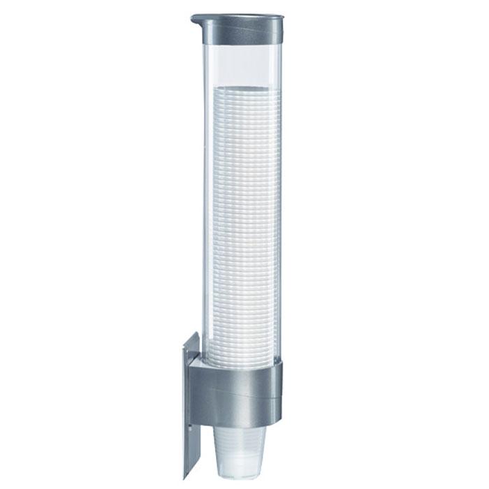 HotFrost стаканодержатель на 70 стаканчиков, Silver1844Держатель для стаканчиков HotFrost крепится к кулеру при помощи магнитов и защищает стаканчики от загрязнений и пыли. Распределительный механизм внизу футляра отделяет стаканы один от другого, выдавая по одному. Подстаканник рассчитан на 70 стаканчиков объемом 150-200 мл. Емкость для стаканчиков изготовлена из прозрачного пластика, а крышка и крепежная часть из пластика чёрного, белого или серебристого цветов.