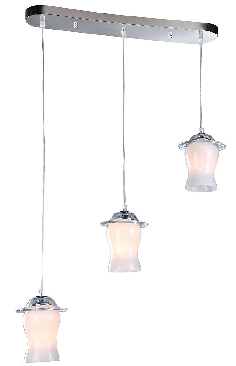 Подвесной светильник ST-LUCE SL702.103.03SL702.103.03Хром+Белое стекло, E14 3*40W 220V/50Hz