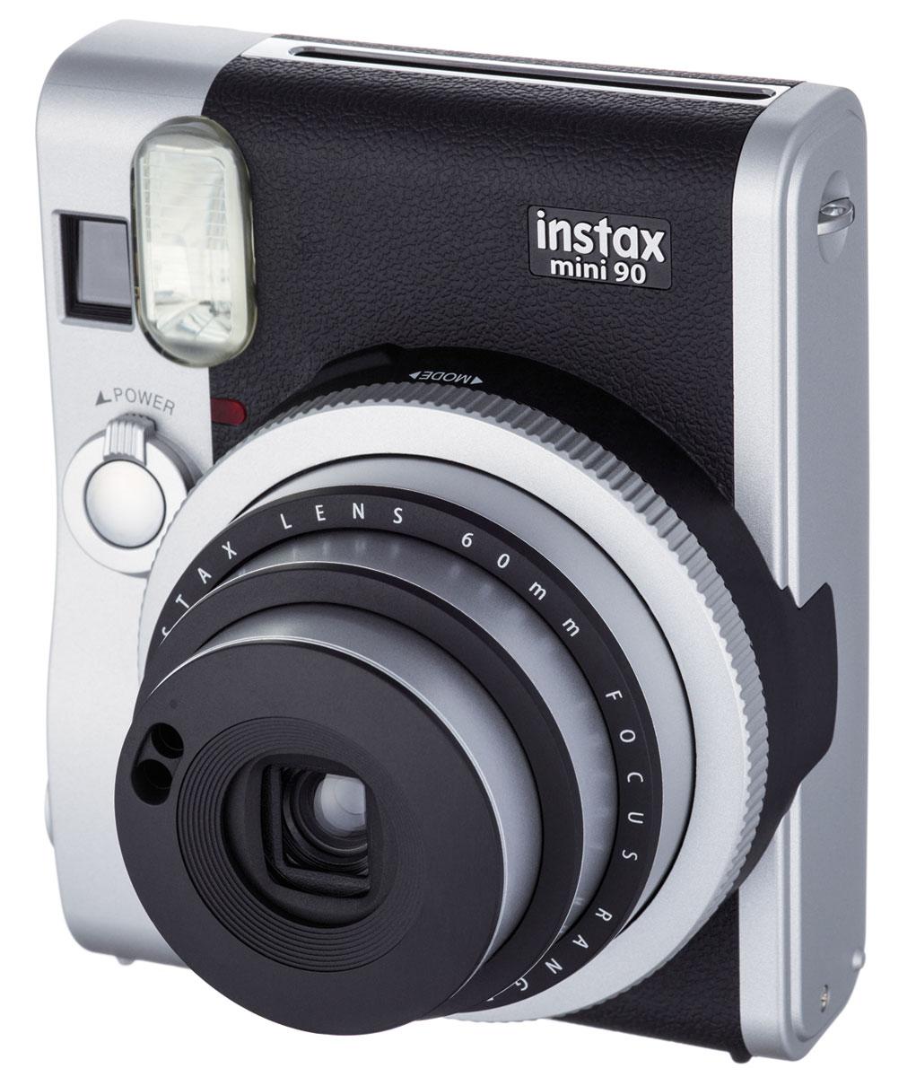 Fujifilm Instax Mini 90, Black фотоаппарат16404583Камера для моментальных снимков Fujifilm Instax mini 90 NEO CLASSIC с новыми и улучшенными функциями и элегантным дизайном в стиле ретро (двухцветное серебристо-черное оформление корпуса) для энтузиастов фотографии, которые хотят получить интересное устройство или камеру более высокого класса по сравнению с моделями начального уровня.Концепция камеры - неоклассика (NEO CLASSIC), что отражено в названии продукта. Новая камера имеет режим двойной экспозиции, длинной экспозиции, макросъемки, режимы праздник, ребенок, ландшафт, таймер автоспуска, отключаемую вспышку, регулировку яркости, 2 кнопки спуска затвора, перезаряжаемую литий-ионную батарею, большой ЖК-экран на задней панели и кольцо выбора режимов на передней. Камера также обеспечивает высокое качество снимков благодаря новой программируемой вспышке. Все эти функции и преимущества делают данную камеру идеальным выбором для фотографов, которые хотят получать максимум удовольствия от съемки моментальных фотографий.Используемая фотопленка: цветная фотобумага Fujifilm Instax miniРазмер фотопленки: 86 x 54 ммРазмер снимка: 62 x 46 ммРесурс аккумулятора: 10 кассет фотобумагиВидоискатель реального изображения, 0,37x, с прицелом и компенсацией параллакса для макросъемкиФокусировка: электроприводное переключение между тремя диапазонами (макросъемка 0,3-0,6 м; нормальный режим 0,6-3 м;пейзаж 3 м-бесконечность)