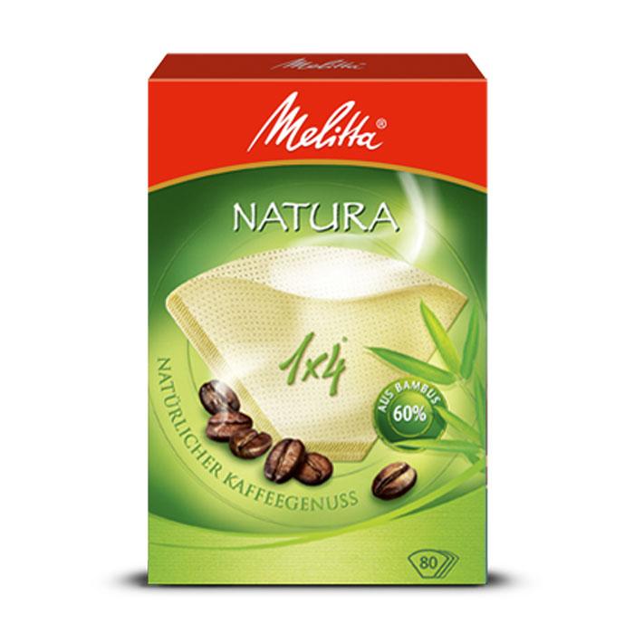 Melitta Natura фильтры для заваривания кофе, 1х4/800100998Экологичные фильтры Melitta Natura подарят вам невероятное удовольствие от приготовленного кофе и его аромата. При изготовлении данного вида фильтров используется 60% бамбука.Высочайшая степень фильтрацииЧрезвычайно прочный двойной шовРазмер 1x4