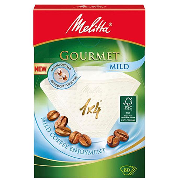 Melitta Gourmet Mild фильтры для заваривания кофе, 1х4/80 шт.0100971Бумажные кофейные фильтры Melitta Gourmet Mild. Позвольте околдовать себя: насладитесь мягким вкусом кофе и его полным разнообразием ароматов благодаря улучшенным кофейным фильтрам Gourmet Mild. Крупнопористая структура бумаги Aromasoft обеспечивает быстрое взаимодействие воды с молотым кофе, что гарантирует мягкий и приятный вкус. Кроме того, инновационные аромапоры Aromapor PLUS способствуют оптимальной экстракции кофейных масел, которые являются носителями более чем 800 ароматов кофе и позволяют наслаждаться мягким соблазняющим кофе.Размер: 1x4Надежный двойной шов повышенной прочностиВысокий уровень прочности на разрыв и эффективности фильтрации