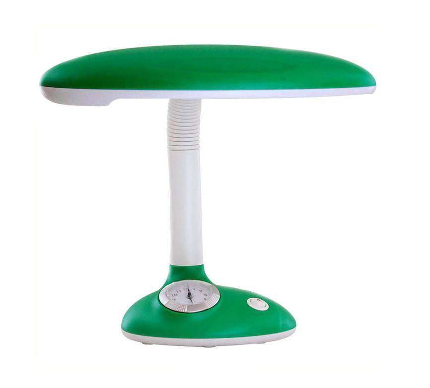 Светильник настольный Ультра ЛАЙТ, с часами, цвет: зеленый. KT432LSF-1307-01Светильник Ультра ЛАЙТ изготовлен из высококачественных материалов и отлично подойдет в детскую комнату. Необычный дизайн, яркая расцветка настольной лампы станут отличным дополнением помещения. На подставке светильника расположены часы, что придает ему большую уникальность и креативность.
