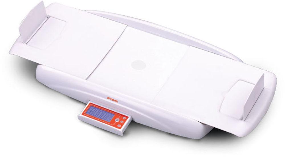 Детские электронные весы с функцией измерения роста ребенка. Значения веса и роста выводятся на цифровой дисплей. Функция «Тарирование» - взвешивание малыша без учета веса пеленки. Функция «Стабилизация» - взвешивание, если малыш лежит неспокойно. Функция «Измерение роста» - встроенный электронный ростомер с отображением результата измерения на выдвижном цифровом экране. Возможность вычета веса одежды Предупреждение о превышении веса Автоматическое отключение 3 варианта единиц измерения: - фунт (lb) - стоун (st) - килограмм (kg) Голубая подсветка дисплея Выдвижная панель с дисплеем и кнопками управления Индикация низкого заряда батареи Противоскользящие ножки