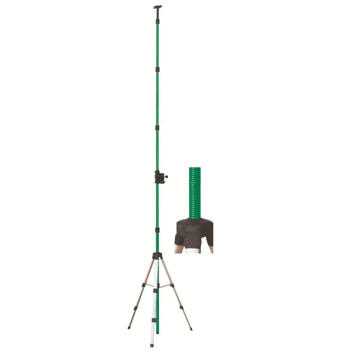 Штатив Hitachi TR 4, элевационныйHTC-H00109Элевационный штатив-штанга Hitachi TR 4 с треногой состоит из нескольких секций, которые раскладываются телескопически для работы с высотой от 0,1 до 4 метров. Резьба установочного винта 5/8. Миллиметровая шкала для точной установки. Для удобства крепления на штанге предусмотрена подвижная площадка, оснащенная винтовым зажимом. Для настройки высоты на секциях нанесены отметки с шагом в 1 сантиметр. Штангу устанавливают в распор между потолком и полом. Если нет такой возможности, то для установки используется тренога.