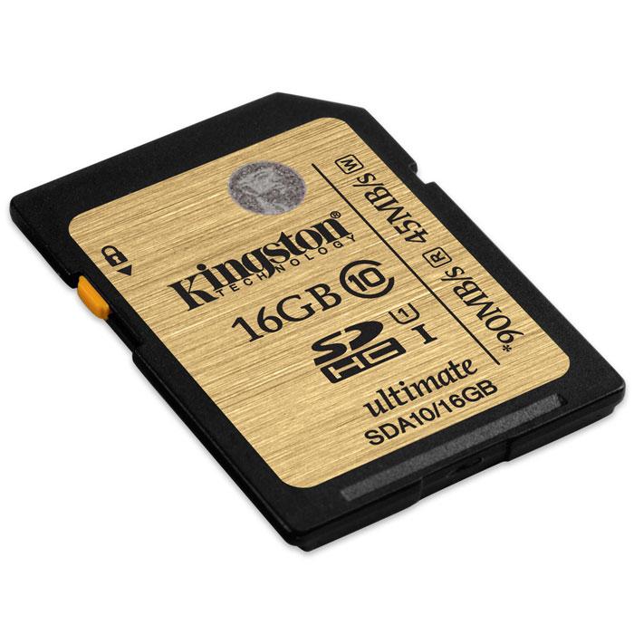 Kingston SDHC Class 10 UHS-I Ultimate 16GB (SDA10/16GB) карта памятиSDA10/16GBKingston SDHC Class 10 UHS-I Ultimate - универсальный носитель информации, который может применяться со всеми совместимыми устройствами, поддерживающими данный формат карт памяти. Способен хранить любые типы данных. Увеличенные минимальные скорости записи поддерживают режим длительной съемки серии фотографий, позволяя снизить задержки.