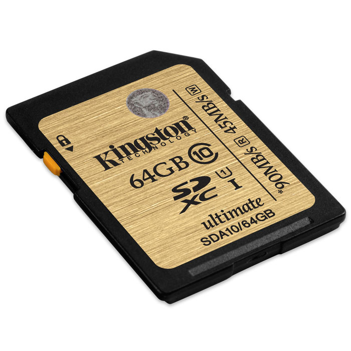 Kingston SDXC Class 10 UHS-I Ultimate 64GB (SDA10/64GB) карта памятиSDA10/64GBKingston SDXC Class 10 UHS-I Ultimate SDA10 - универсальный носитель информации, который может применяться со всеми совместимыми устройствами, поддерживающими данный формат карт памяти. Способен хранить любые типы данных. Увеличенные минимальные скорости записи поддерживают режим длительной съемки серии фотографий, позволяя снизить задержки.