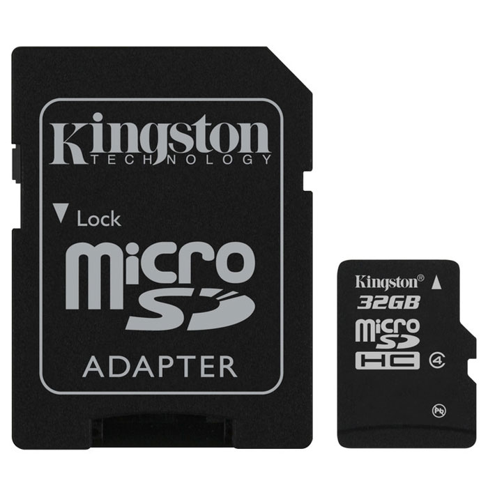 Kingston microSDHC Class 4 32GB карта памяти с адаптеромSDC4/32GBКарты microSDHC позволяют хранить большие объемы музыки, видео, изображений, игр в современных мобильных устройствах. Флэш-карты microSDHC относятся к 4 скоростному классу, т.е. максимальная скорость передачи данных составляет 4 Мб/с.По размерам карты microSDHC совпадают с картами microSD, но совместимы только с устройствами, поддерживающими стандарт microSDHC в соответствии со спецификацией SD Specification Version 2.0. Карты microSDHC можно использовать с адаптером как полноразмерные карты SDHC.Внимание: перед оформлением заказа, убедитесь в поддержке Вашим электронным устройством карт памяти данного объема.