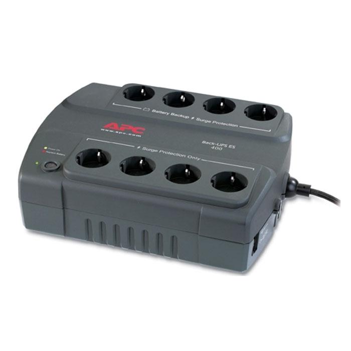 APC BE400-RS Back-UPS ES 400VA 230V RussianBE400-RSAPC BE400-RS обеспечивает защиту линии передачи данных. В комплект поставки входит диск с ПО, при помощи которого можно адаптировать ИБП индивидуально под вашу сеть. 4 розетки можно использовать как сетевой фильтр и 4 розетки обеспечивают батарейную поддержку.Номинальное выходное напряжениеЭффективная мощность 240 ВаттХолодный стартВремя работы от батарей при нагрузке 100 Вт: 23 минВремя работы от батарей при нагрузке 200 Вт: 8 минМаксимальная энергия входного импульсного воздействия 310 ДжВремя зарядки 16 часовУровень шума 45 дБА на расстоянии 1 метра от поверхности устройства