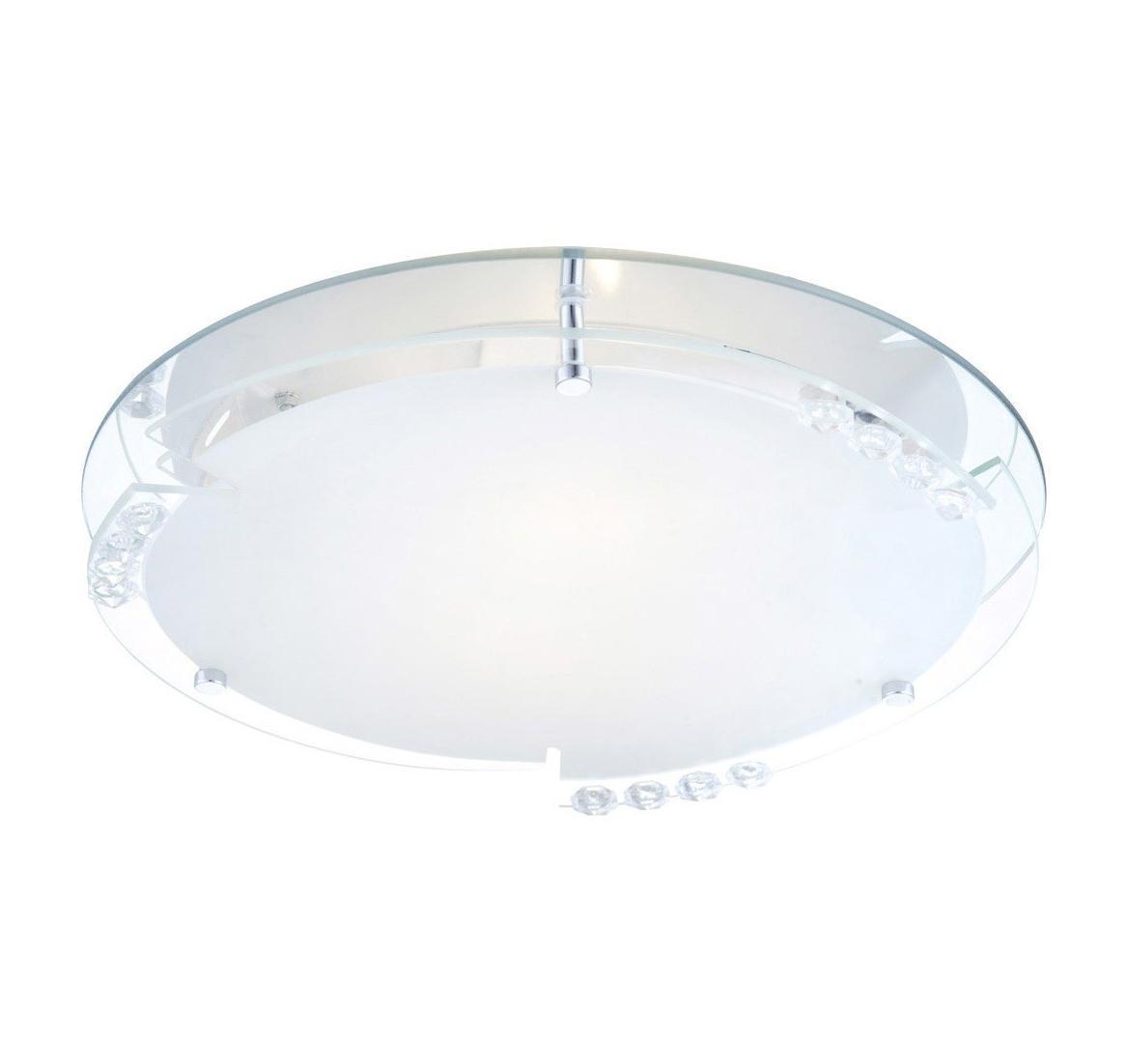 48073-2 Потолочный светильник ARMENA48073-2Globo Светильник настенно-потолочный 48073-2. Оригинальность конструкции плафона данной модели выделяет ее из множества подобных и сразу же привлекает внимание. Круглый плафон с прозрачными украшениями имеет составной тип конструкции, которая позволяет расположить его как на стене, так и на потолке. Матовое стекло немного приглушает свет, делая его приятным для глаз. Лампы со стандартным цоколем легко найти в продаже и заменить при возникновении такой необходимости. Электроприбор отлично подходит для освещения определенной зоны, и выполняет свою главную функцию,- украсить жилое пространство.